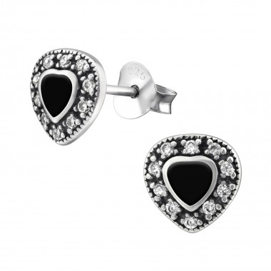 Heart - 925 Sterling Silver Stud Earrings with CZ SD30955