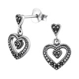 Hanging Heart - 925 Sterling Silver Stud Earrings with CZ SD31012