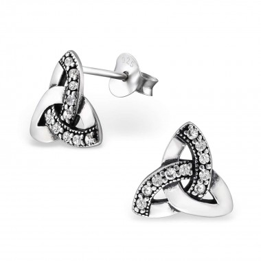 Celtic - 925 Sterling Silver Stud Earrings with CZ SD31236