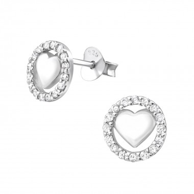 Heart - 925 Sterling Silver Stud Earrings with CZ SD31407
