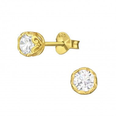 Round - 925 Sterling Silver Stud Earrings with CZ SD3244