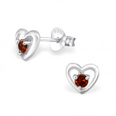 Heart - 925 Sterling Silver Stud Earrings with CZ SD33214