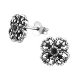 Flower - 925 Sterling Silver Stud Earrings with CZ SD35445