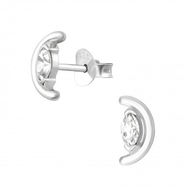 Semi Circle - 925 Sterling Silver Stud Earrings with CZ SD36146