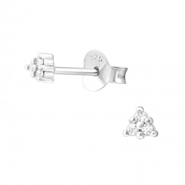 Triangle - 925 Sterling Silver Stud Earrings with CZ SD36624