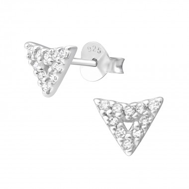 Arrow - 925 Sterling Silver Stud Earrings with CZ SD36644