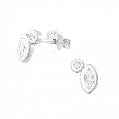 Geometric - 925 Sterling Silver Stud Earrings with CZ SD37258