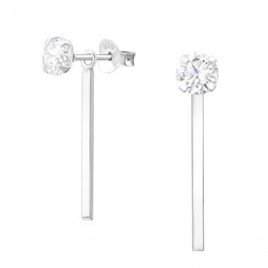 Geometric - 925 Sterling Silver Stud Earrings with CZ SD37582