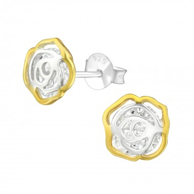 Flower - 925 Sterling Silver Stud Earrings with CZ SD37584