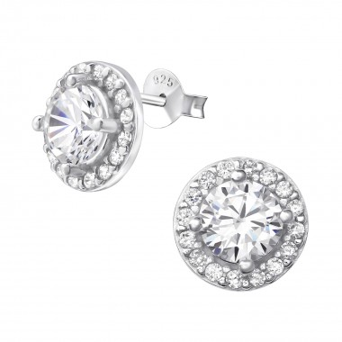 Sparkling - 925 Sterling Silver Stud Earrings with CZ SD37586