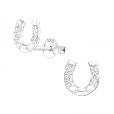Horse Shoe - 925 Sterling Silver Stud Earrings with CZ SD3780