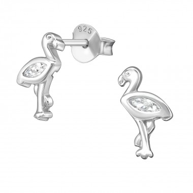 Flamingo - 925 Sterling Silver Stud Earrings with CZ SD38882