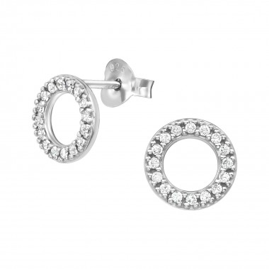 Circle - 925 Sterling Silver Stud Earrings with CZ SD38905