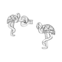 Flamingo - 925 Sterling Silver Stud Earrings with CZ SD38921