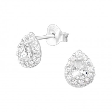 Pear - 925 Sterling Silver Stud Earrings with CZ SD39301