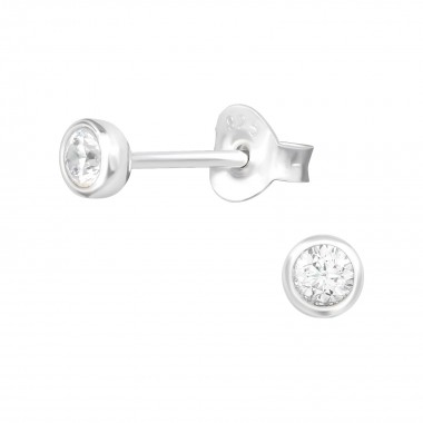 Round - 925 Sterling Silver Stud Earrings with CZ SD39456