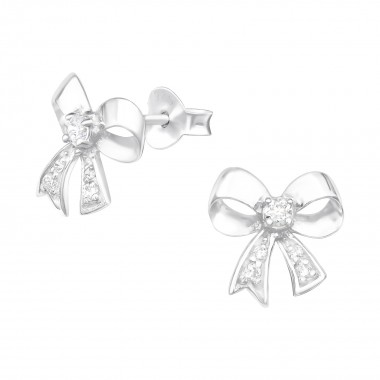 Bow - 925 Sterling Silver Stud Earrings with CZ SD3959