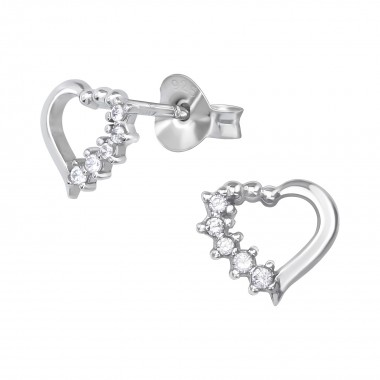 Heart - 925 Sterling Silver Stud Earrings with CZ SD39649
