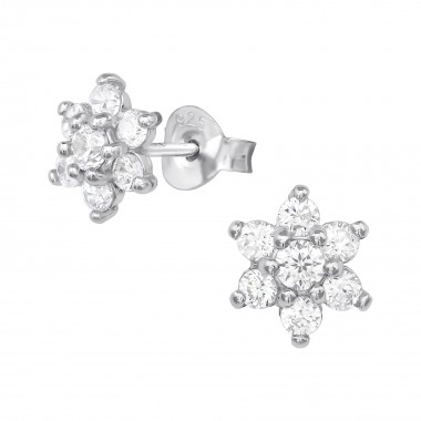 Flower - 925 Sterling Silver Stud Earrings with CZ SD39653