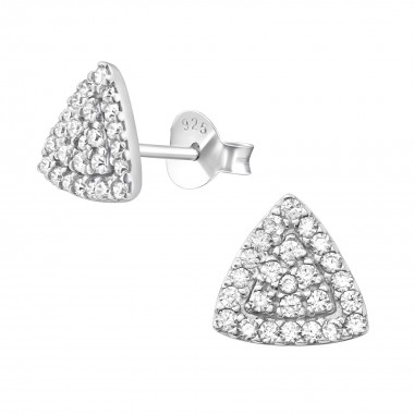 Triangle - 925 Sterling Silver Stud Earrings with CZ SD39702