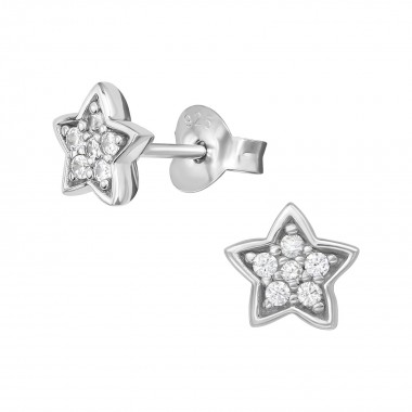 Star - 925 Sterling Silver Stud Earrings with CZ SD39704