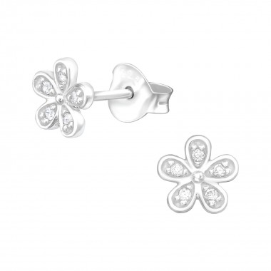 Flower - 925 Sterling Silver Stud Earrings with CZ SD40085