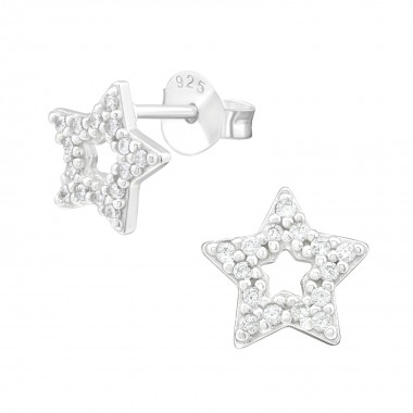 Star - 925 Sterling Silver Stud Earrings with CZ SD40091