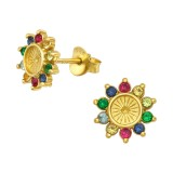 Flower - 925 Sterling Silver Stud Earrings with CZ SD40150