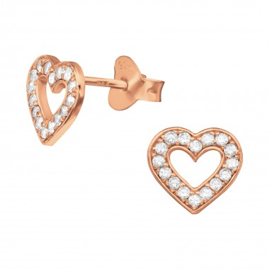 Heart - 925 Sterling Silver Stud Earrings with CZ SD40284