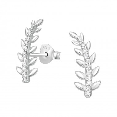 Leaf - 925 Sterling Silver Stud Earrings with CZ SD41119