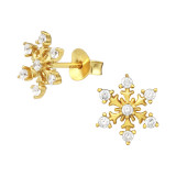 Snowflake - 925 Sterling Silver Stud Earrings with CZ SD41744