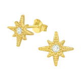Northern Star - 925 Sterling Silver Stud Earrings with CZ SD42068