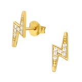 Lightning Bolt - 925 Sterling Silver Stud Earrings with CZ SD42141