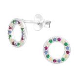 Circle - 925 Sterling Silver Stud Earrings with CZ SD42442