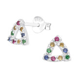 Triangle - 925 Sterling Silver Stud Earrings with CZ SD42443