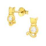 Cat - 925 Sterling Silver Stud Earrings with CZ SD42532