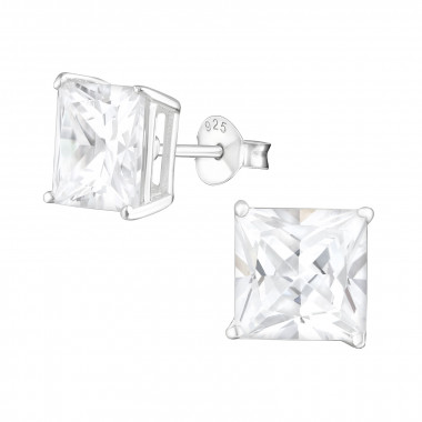 Square - 925 Sterling Silver Stud Earrings with CZ SD434
