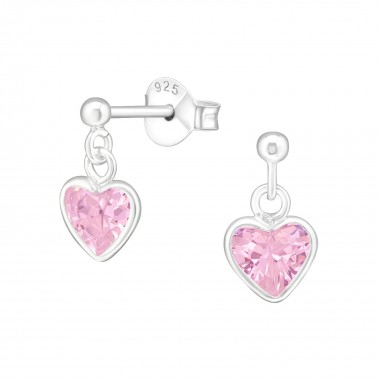 Heart - 925 Sterling Silver Stud Earrings with CZ SD4656