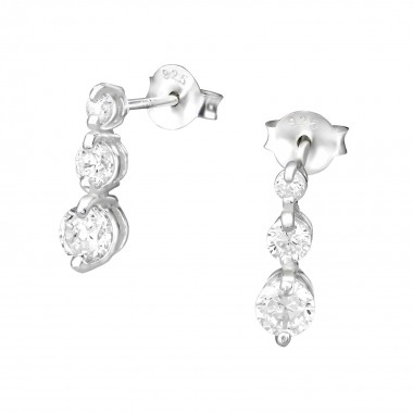 Hanging - 925 Sterling Silver Stud Earrings with CZ SD5582