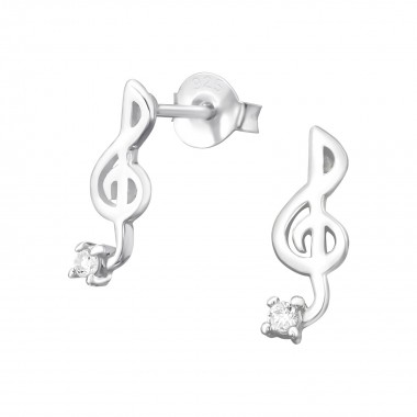 Music Note - 925 Sterling Silver Stud Earrings with CZ SD7059