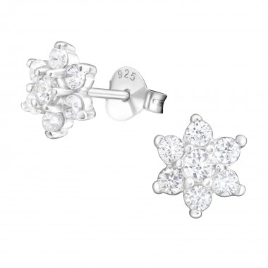 Snowflake - 925 Sterling Silver Stud Earrings with CZ SD7876