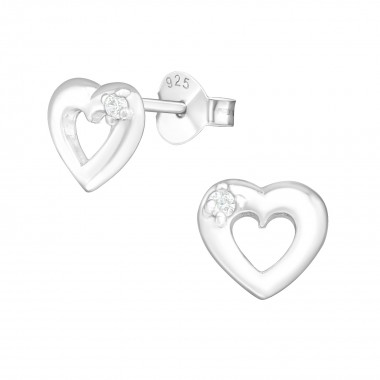 Heart - 925 Sterling Silver Stud Earrings with CZ SD8092
