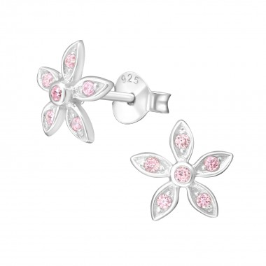 Flower - 925 Sterling Silver Stud Earrings with CZ SD8094