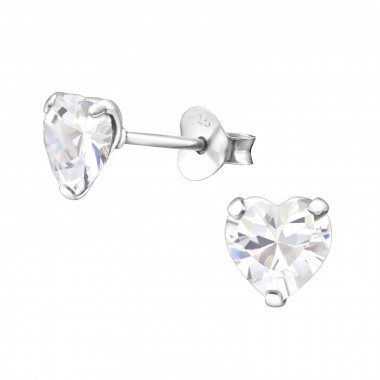 Heart - 925 Sterling Silver Stud Earrings with CZ SD991