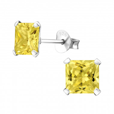 Square - 925 Sterling Silver Stud Earrings with CZ SD992
