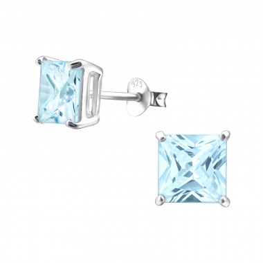 Square - 925 Sterling Silver Stud Earrings with CZ SD995