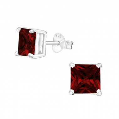 Square - 925 Sterling Silver Stud Earrings with CZ SD996