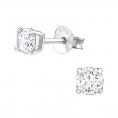 Round - 925 Sterling Silver Stud Earrings with CZ SD997