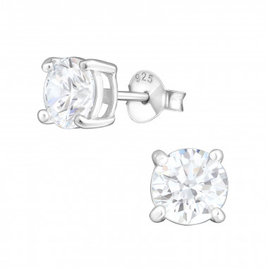Round - 925 Sterling Silver Stud Earrings with CZ SD999