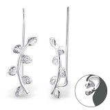 Leaf - 925 Sterling Silver Cuff Earrings SD24356